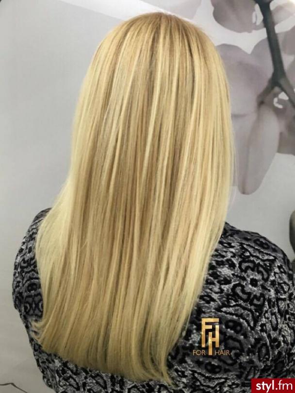 blond z refleksami - Blond Rozpuszczone Proste z grzywką Na co dzień Długie Fryzury