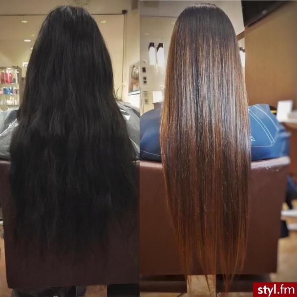 sombre z Olaplex fryzjer Warszawa salon FOR HAIR - Brązowe Rozpuszczone Proste Na co dzień Długie Fryzury