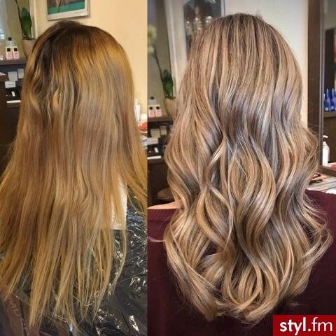 fryzjer warszawa sombre z Olaplex salon for hair - Blond Rozpuszczone Kręcone Wieczorowe Długie Fryzury