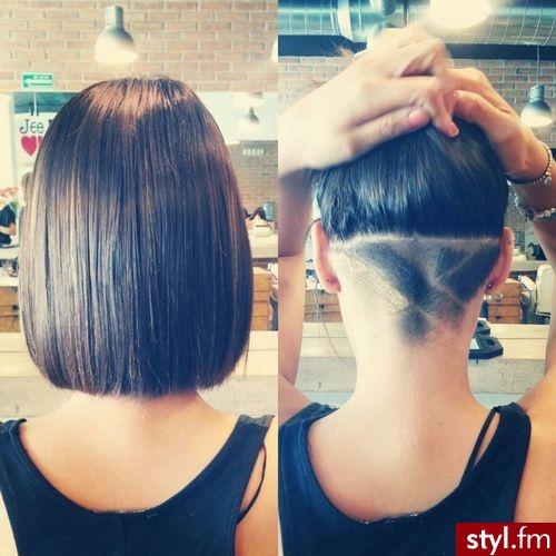 Стрижка с выбритым затылком женская на средние волосы