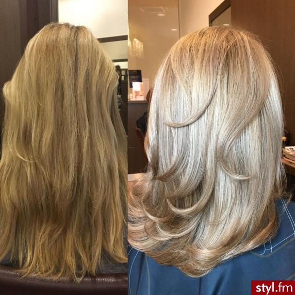 sombre z Olaplex fryzjer Warszawa salon FOR HAIR - Blond Rozpuszczone Proste Na co dzień Długie Fryzury