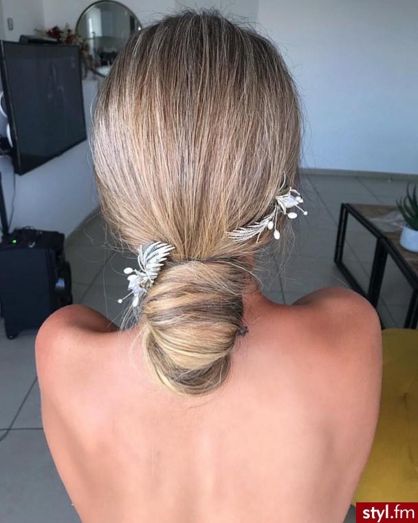 Blond Upięcie Proste Ślubne Krótkie Fryzury