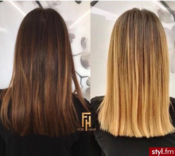 Sombre z Olaplex salon For Hair http://forhairsobieski.pl/ - Blond Rozpuszczone Proste Na co dzień Średnie Fryzury
