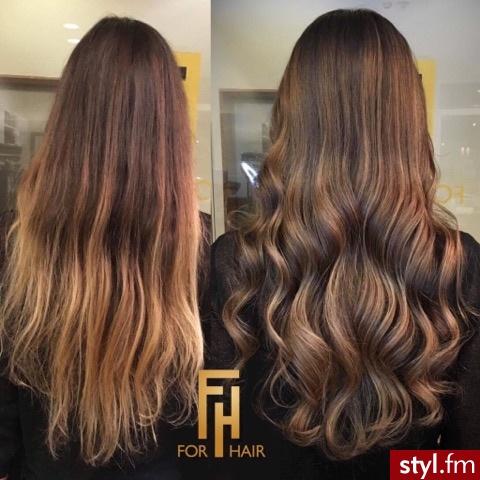 Najlepsze blondy w Warszawie salon For Hair - Brązowe Rozpuszczone Kręcone Na co dzień Długie Fryzury