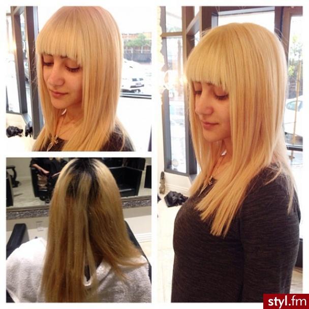 Blond Rozpuszczone Proste z grzywką Na co dzień Długie Fryzury