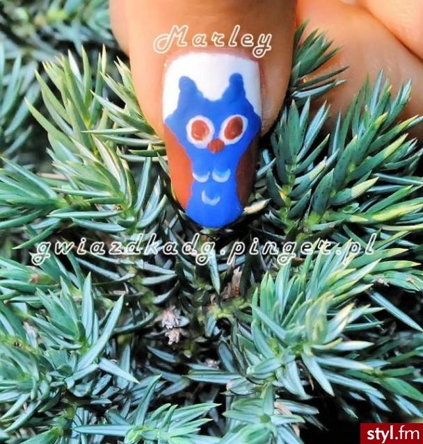 owl nails - Migdałki Naturalne Paznokcie