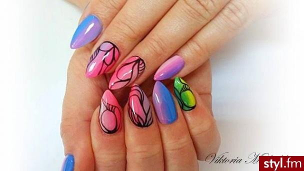 Migdałki Malowane farbkami Żel Paznokcie