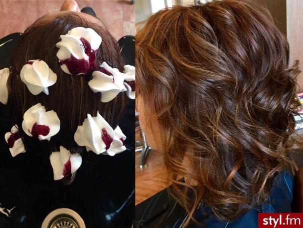 Koloryzacja z pielęgnacją w wykonaniu Małgosi - Brązowe Rozpuszczone Kręcone Na co dzień Średnie Fryzury
