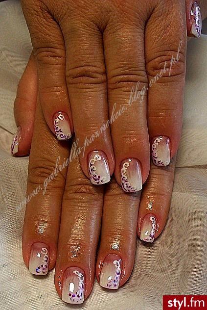 akryl na naturalnych paznokciach+ farbki akrylowe - Kwadratowe Malowane farbkami Akryl Paznokcie