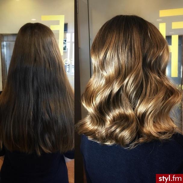 sombre z Olaplex fryzjer Warszawa salon FOR HAIR - Blond Rozpuszczone Kręcone Na co dzień Średnie Fryzury