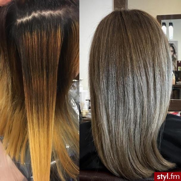 Metamorfoza fryzjer warszawa sombre z Olaplex salon for hair - Blond Rozpuszczone Proste Na co dzień Średnie Fryzury